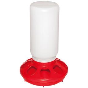 Kükenfuttertrog mit Schraubverschluss, 1 kg, 7 Löcher (rot)